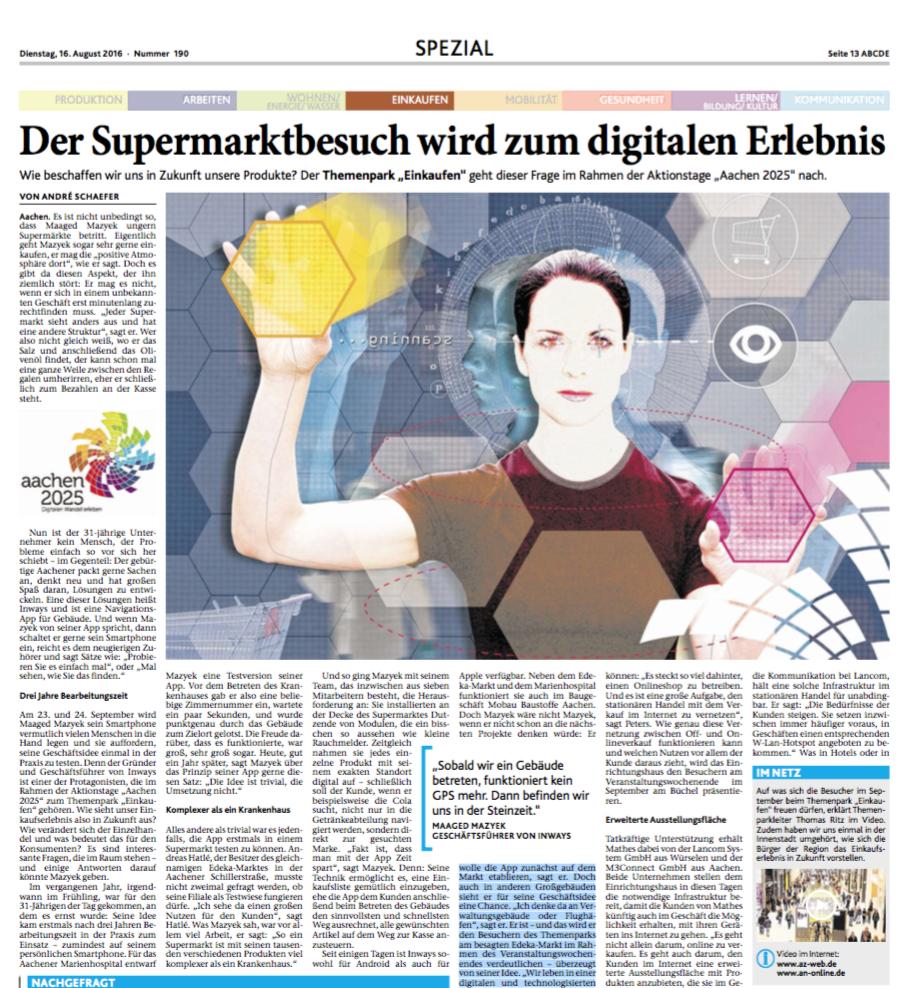 Bericht über inways in der Aachener Zeitung/Aachener Nachrichten