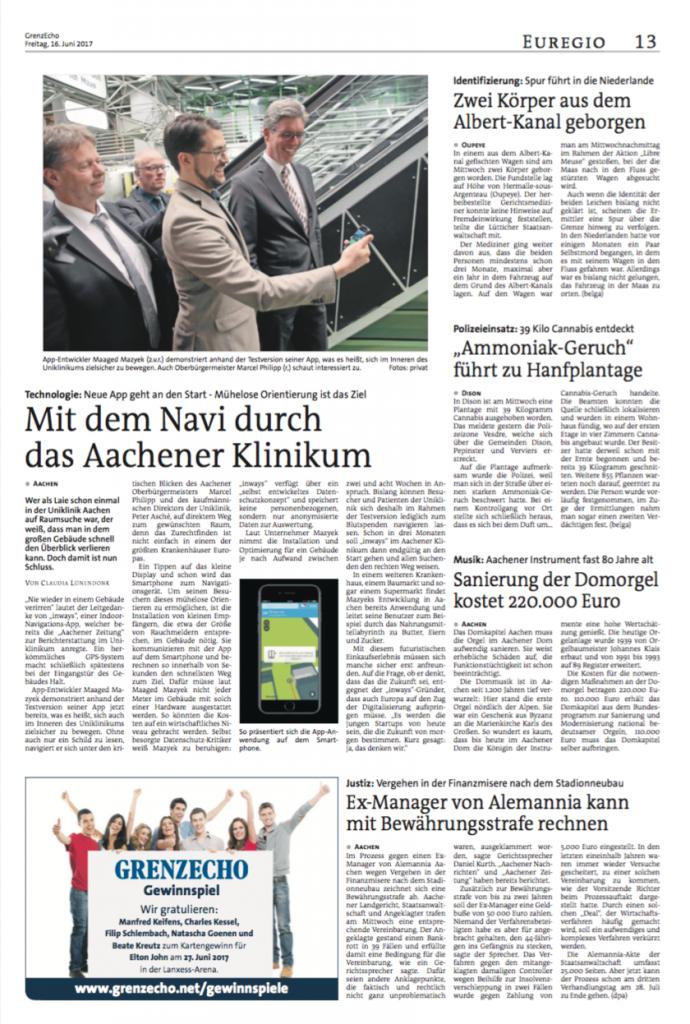 """Tageszeitung GrenzEcho über inways: """"Mit dem Navi durch das Aachener Klinikum"""""""