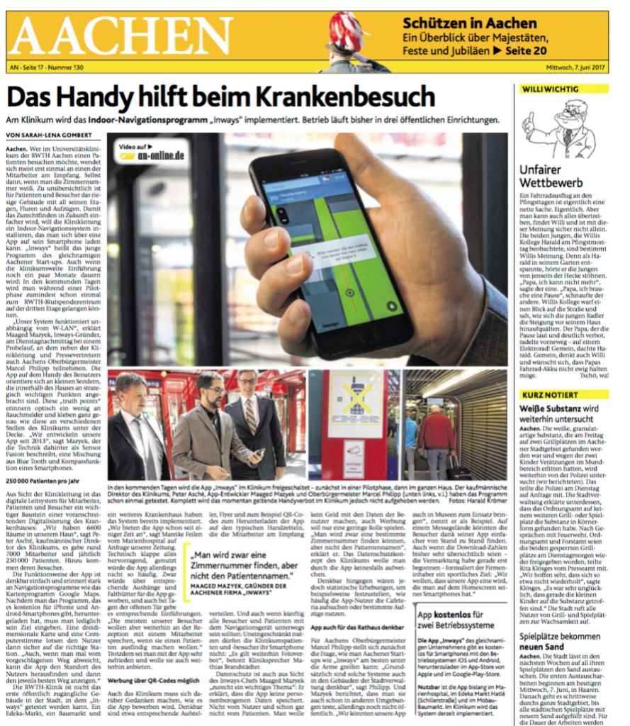 Berichterstattung über inways in der Uniklinik RWTH Aachen